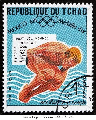 Estampilla Chad 1969 Klaus Dibiasi, trampolín buceo
