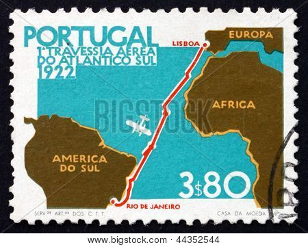 Postage Stamp Portugal 1972 Map Of Flight From Lisbon To Rio