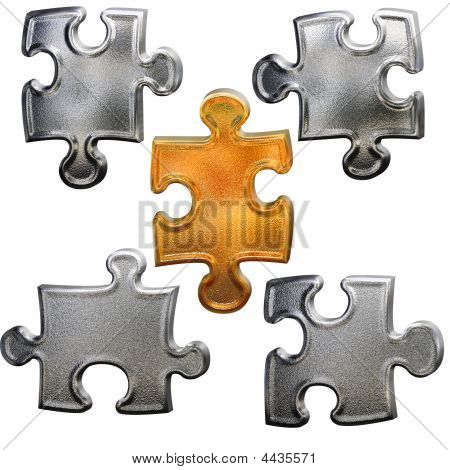 Golden Ang Chrome Metallic Patter Puzzle Over White Background