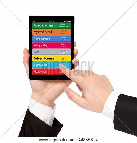 Isolated Businessman Hands Holding Tablet And Manage Virtual Wallet