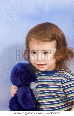 Child With Toy - Baby Boy With Stuffed Blue Teddy Bear