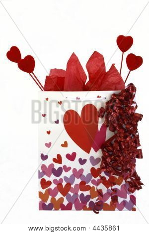 Large Gift Bag, White With Pink And Red Hearts On It.