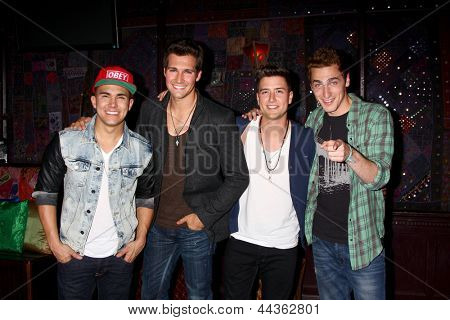 LOS ANGELES - APR 1:  Carlos Roberto Pena Jr., James Maslow, Logan Henderson, Kendall Schmidt of Big Time Rush at the House of Blues on April 1, 2013 in West Hollywood, CA