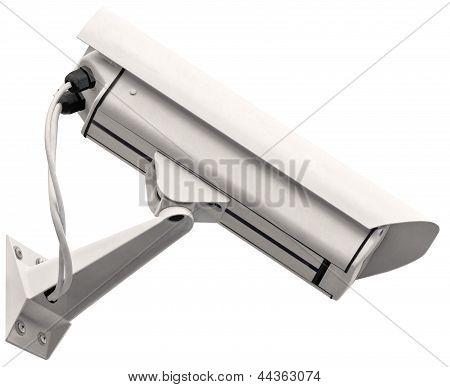 Video Surveillance Cctv Camera, Grey Isolated Large Closeup, Light Gray Metallic 24 Hour Security TV