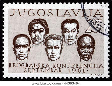 Postage Stamp Yugoslavia 1961 Men Of Five Races