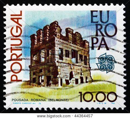 Selo postal Portugal 1978 romano torre, Belmonte