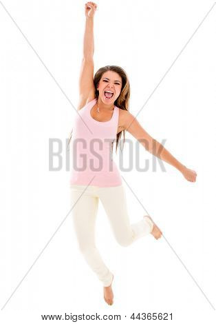 Excited woman jumping and celebrating