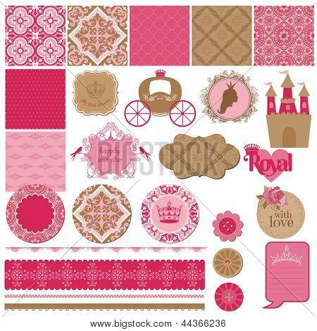 Elementos de Design scrapbook - princesa menina aniversário conjunto - vetor