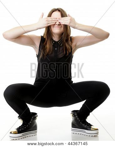 Scared.young Woman Covering Her Eyes.