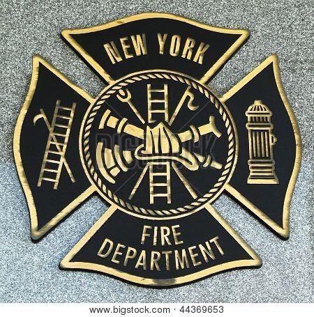 FDNY emblem on fallen officers memorial in Brooklyn, NY