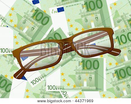 Lesebrille auf hundert Euro Hintergrund