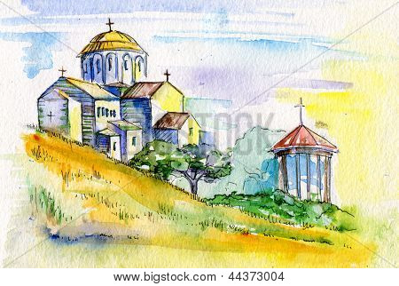 Watercolor Painting. Orthodox Church.