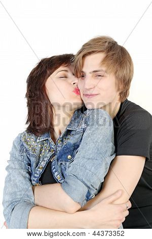 Young Caucasian Couple Kissing