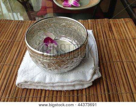 Water in Aluminium bowl