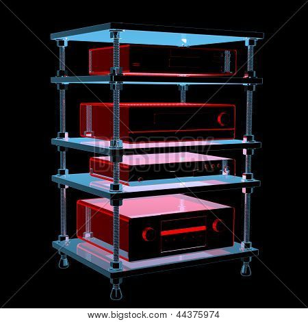 Hifi Table With Equipment (3D Xray Blue Transparent)