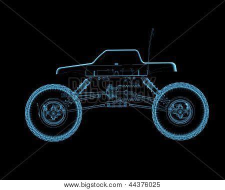 Rc Toy Car (3D Xray Blue Transparent)