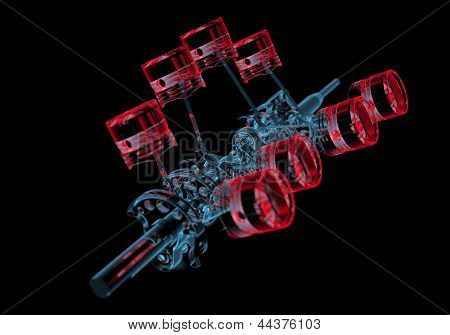 Crank Shaft With Pistons (3D Xray Red And Blue Transparent)