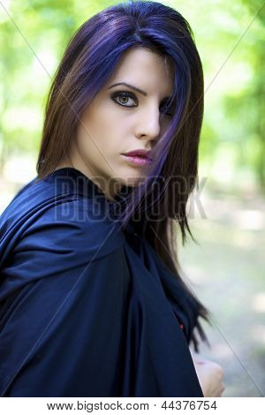 Fashion Portrait Of Beautiful Female Model In Magic Atmoshpere