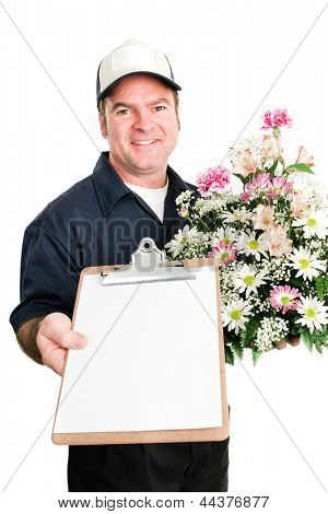 Delivery man from florist carrying a bouquet of flowers and a message for you on a clipboard.  Isolated on white.  Blank paper ready for text.