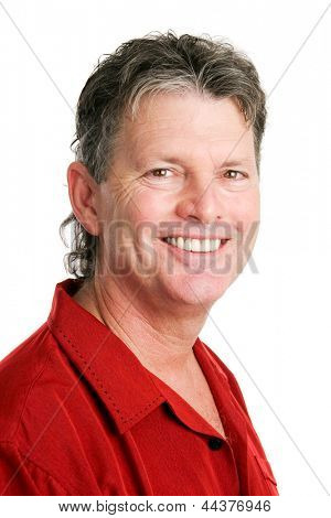 Portrait of a handsome middle aged man of the baby boom generation.  Isolated on white