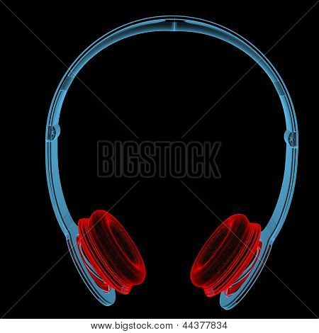 Wireless Headphones (3D Xray Red And Blue Transparent)