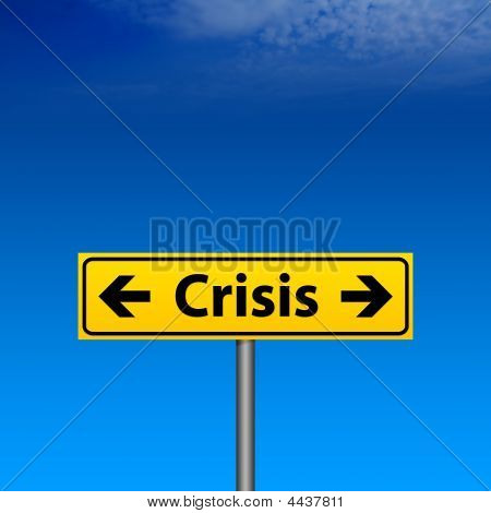 Yellow Crisis Direction Sign And Blue Sky Background