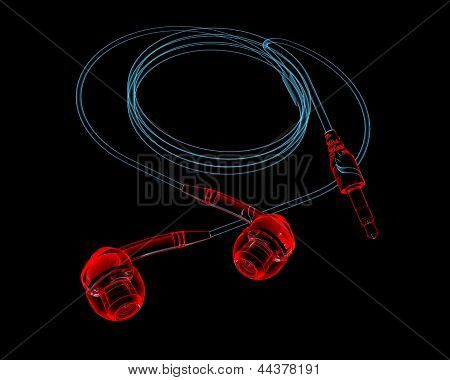 Earphones (3D Xray Red And Blue Transparent)