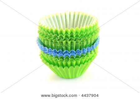 Empty Cupcake Cups In Green And Blue