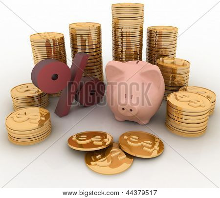 Piggy Bank, percent and money. Finance concept. 3D render illustration