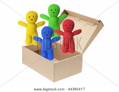 Soft Toy Dolls in Cardboard Box