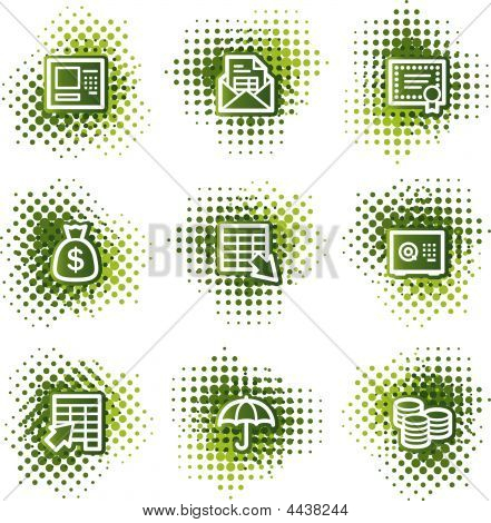 Banking Web Icons, Green Dots Series