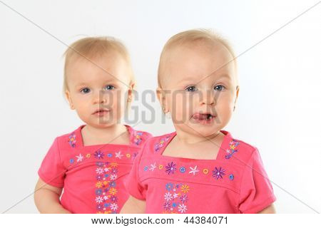One year old twin girl. Shallow depth of field. Focus on the front girl.