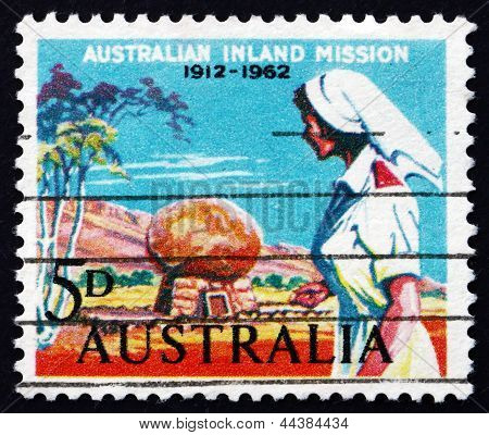 Postage Stamp Australia 1962 Nurse And Rev. Flynn's Grave
