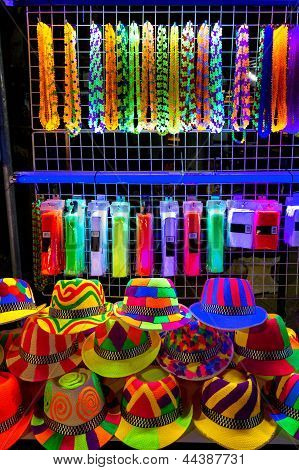 Colourfull And Bright Hats And Beads For Nightparty