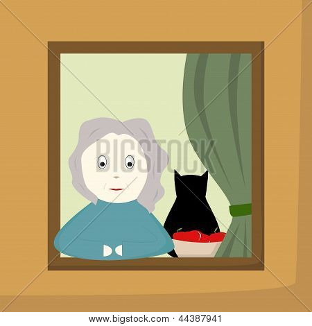 Grandmother In A Window
