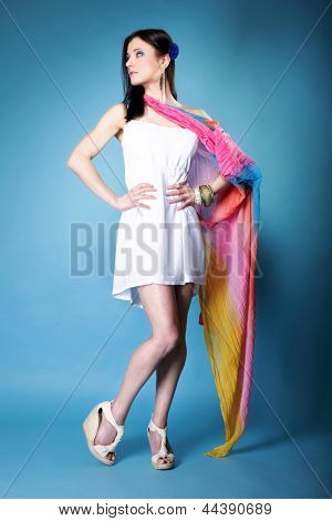 Pretty Summer Woman With Colorful Shawl