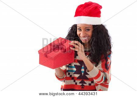 Young Black African American Woman Opening A Gift Box