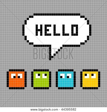 8-bit Pxiel Characters Say Hello