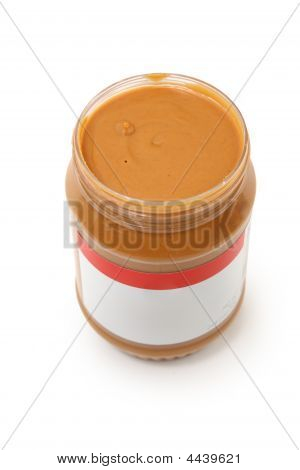 Open Jar Of Creamy Peanut Butter