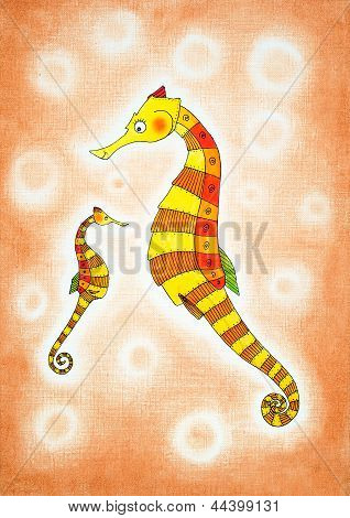 Seahorses, child's drawing, watercolor painting on canvas paper