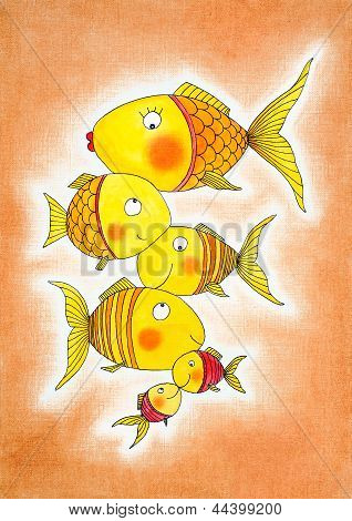 Group of gold fish, child's drawing, watercolor painting on canvas paper