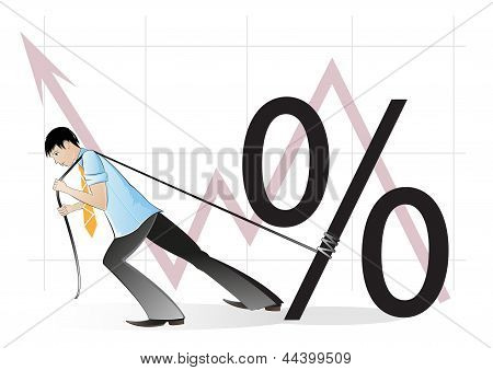 Businessman And A Percent Sign