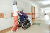 image of hospice  - female nurse carer and aged elderly patient woman in wheelchair at clinic hallway - JPG