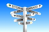 foto of sleet  - Weather signpost vector on blue sky background - JPG