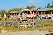 picture of jousting  - wooden pagan wheel of a race - JPG