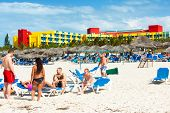 VARADERO,CUBA-APRIL 7:Tourists sunbathing at the Barcelo Solymar Hotel April 7,2013 in Varadero.With