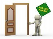 3D Man, Open Door And Future Ahead Sign