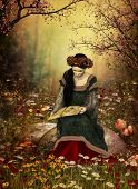 picture of medieval  - a lady in a medieval gown sitting on a stone and reading a book - JPG