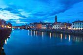Ponte Vecchio Landmark On Twilight, Old Bridge, Arno River In Florence. poster