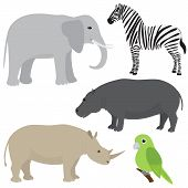 picture of behemoth  - Vector set 1 of cartoon african animals - JPG
